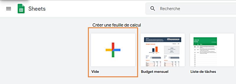 Google Sheets et cliquez sur le bouton 'Démarrer une nouvelle feuille de calcul'
