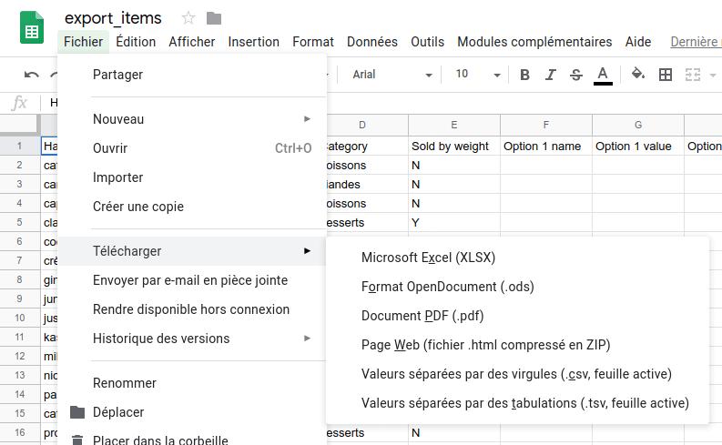 enregistrer la feuille de calcul au format CSV