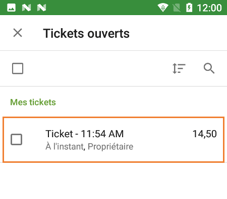 tickets ouvert