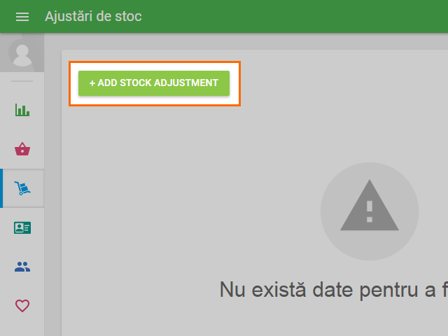 '+ Add stock adjustment' button