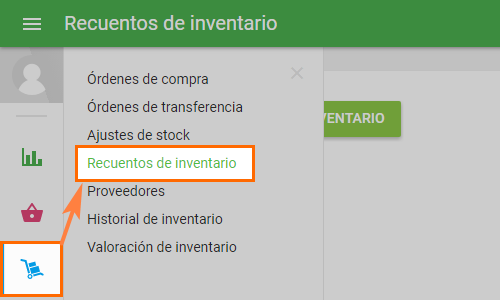 'Inventory Count' section in the 'Inventory management' menu,Conteo