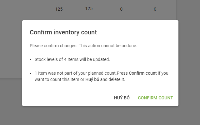 'Confirm inventory count' window