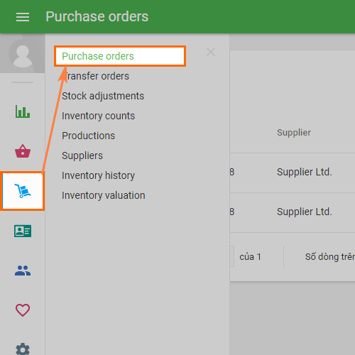 'Purchase orders' section