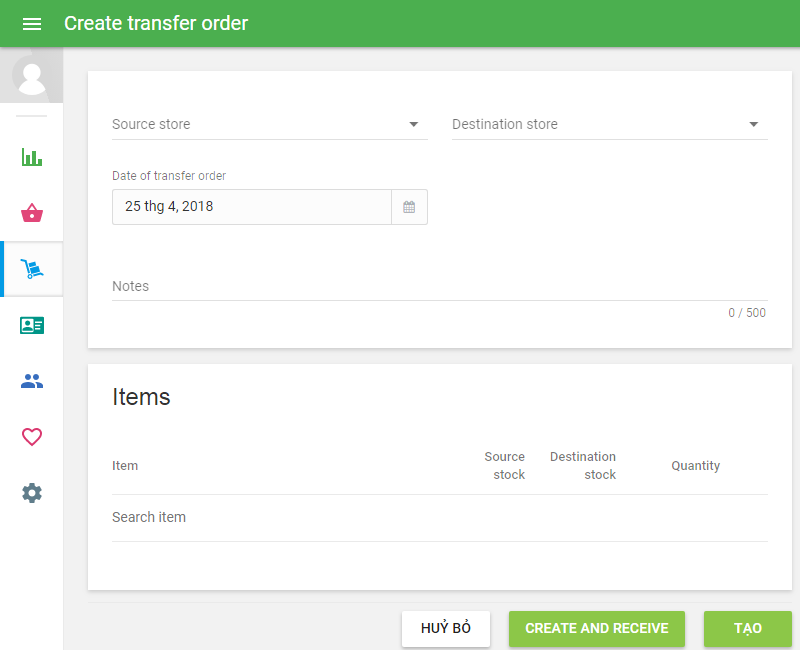form 'Create transfer order'