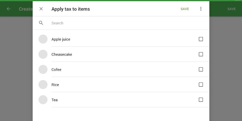 Selection of items to which this tax will be applied