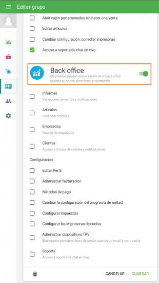 Derechos de acceso al Back Office