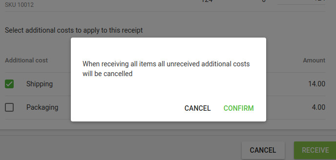 notification about unreceived additional costs will be cancelled