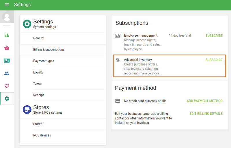 subscription for Advanced Inventory at the 'Billing & subscriptions' section  Sku