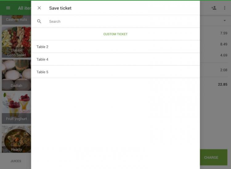 selection of predefined ticket