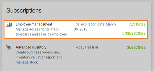 information about the trial expiration