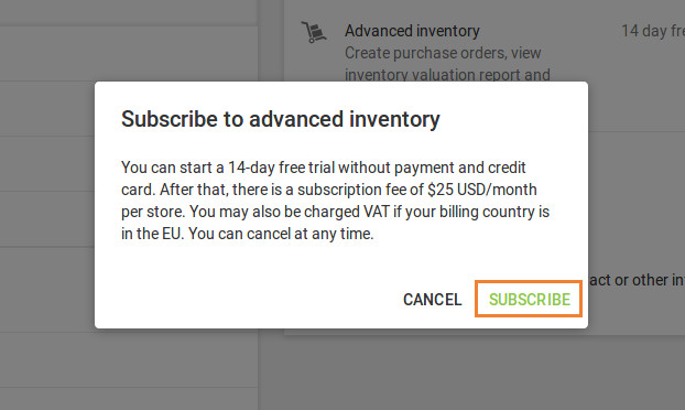 Subscribe to Advanced inventory