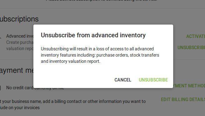 'Unsubscribe' from Advanced inventory