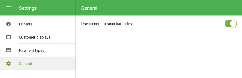 option 'Use the camera to scan barcodes'