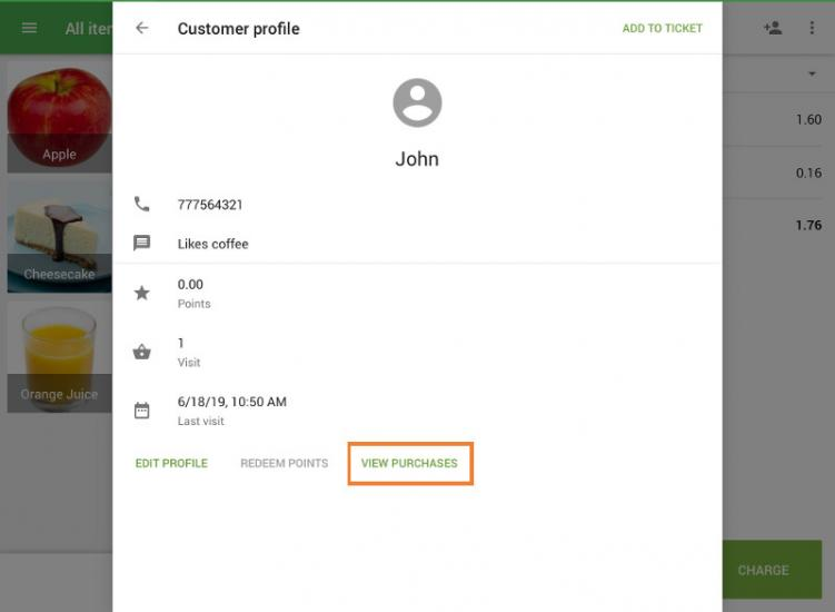 "button ""view purchases"" on the customer profile"