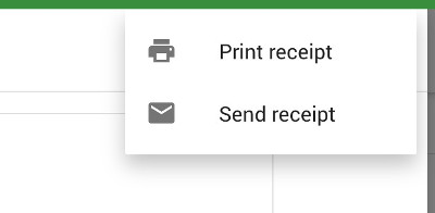 send and print receipt buttons