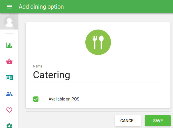 'Add dining option' screen