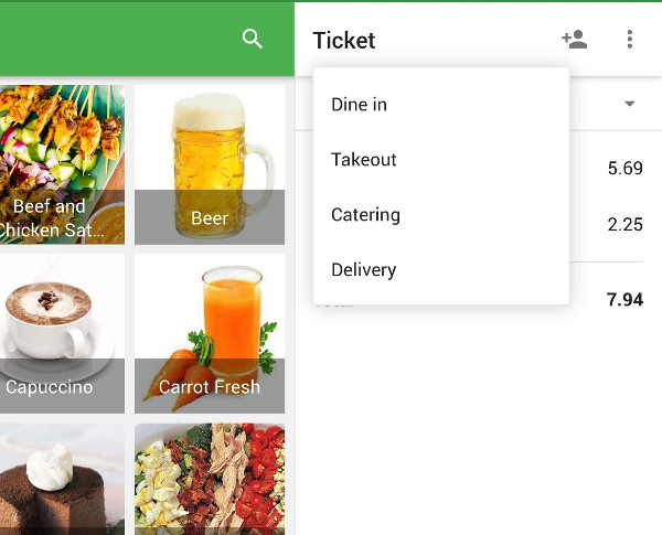 drop-down menu with all dining options