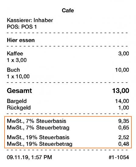 The tax base and tax amount on the receipt for Germany, Gobd, gobd