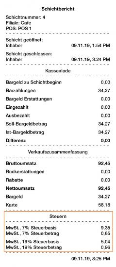 The tax base and tax amount in the shift report for Germany germany