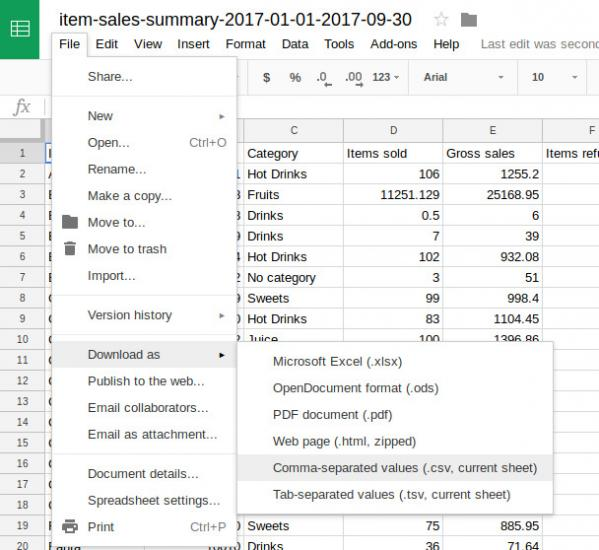 saving the spreadsheet in the CSV format