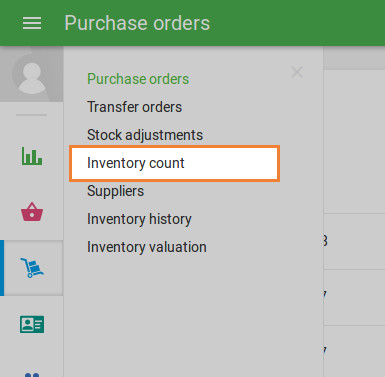 'Inventory Count' section in the 'Inventory management' menu