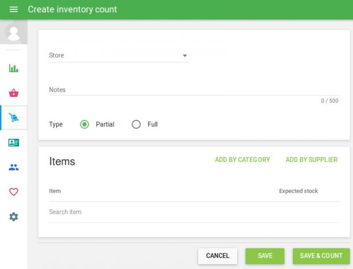 The form 'Create inventory count'