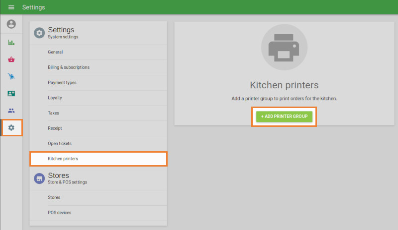 Click the Kitchen Printers menu and create a printer group.