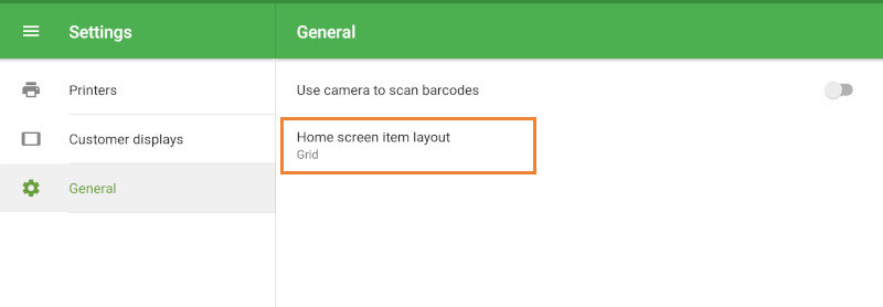 'Home screen item layout' POS settings