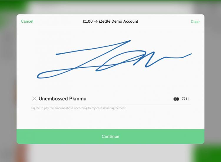 Customer signature on the iPad's screen