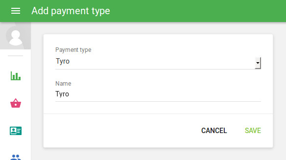 selecting 'Tyro' payment type