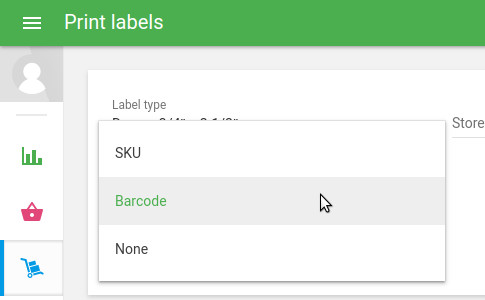 'Barcode source field' drop-down list
