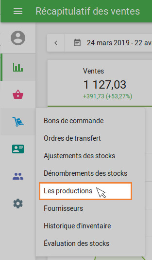 "section ""Production"" du menu ""Gestion des stocks"""