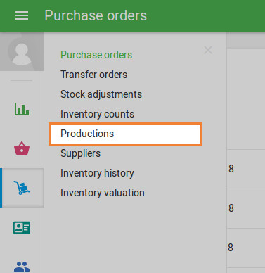 'Production' section in the 'Inventory management' menu