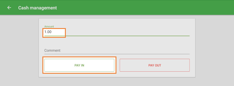 Amount field and 'Pay In' button