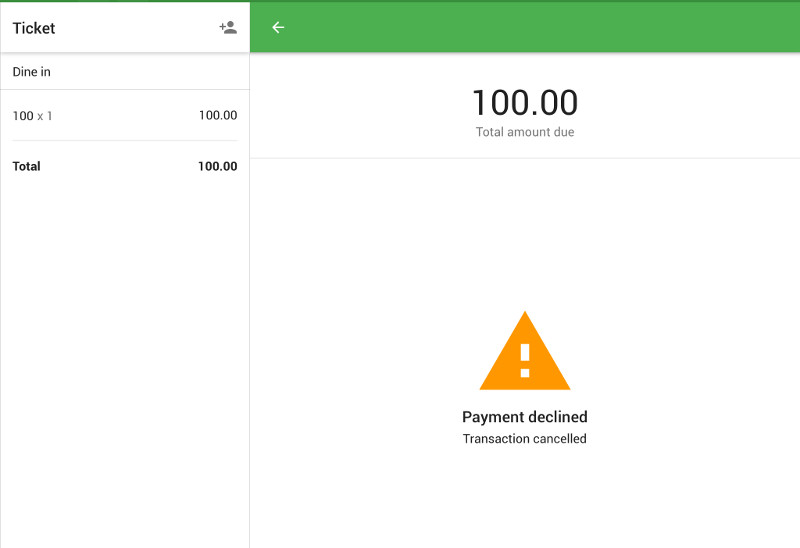 Payment declined message