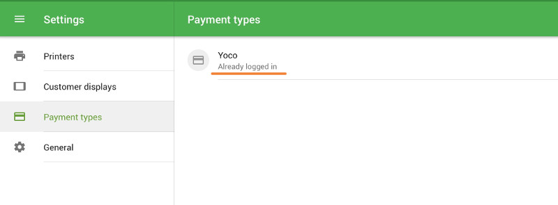 logged-in status of Yoco account