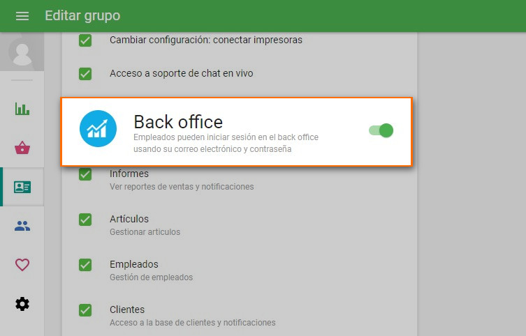 "opción de ""Back Office"""