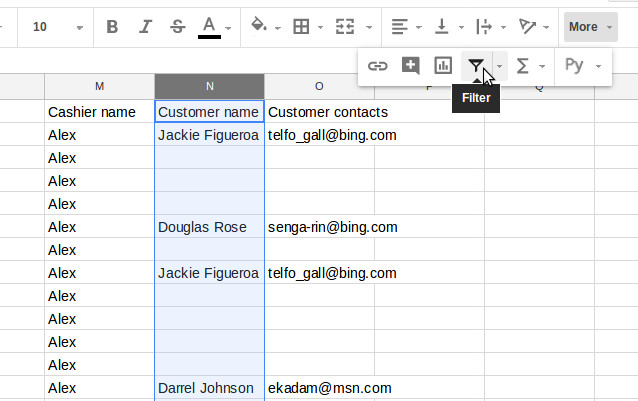 Filter button in the Google Sheets
