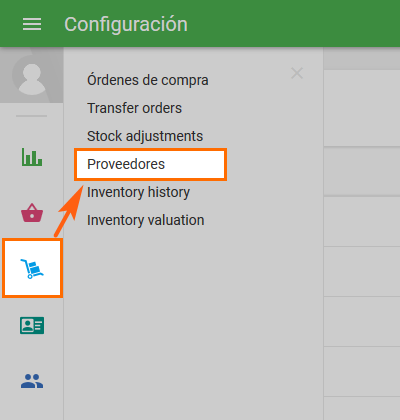 'Suppliers' section in the 'Inventory management'