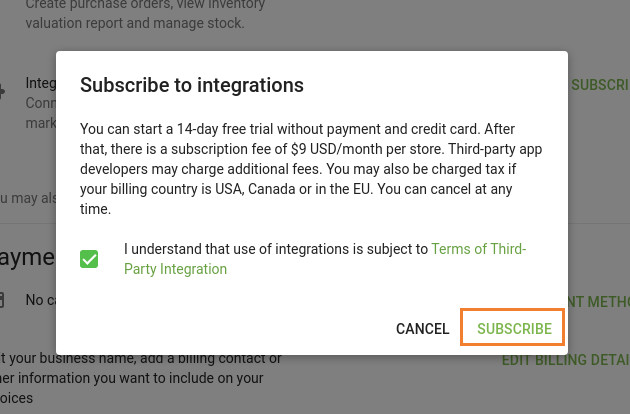 Integrations trial subscription