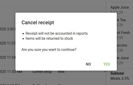 "the ""Cancel receipt"" message"
