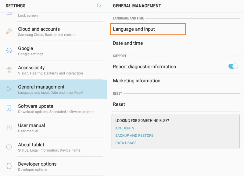 General management settings in Android device