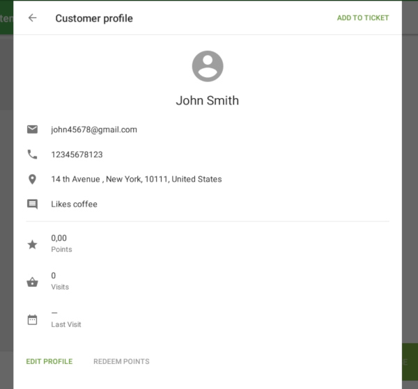 Information about customer in Customer profile