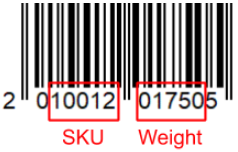 EAN 13 barcode with embedded weight