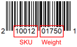 UPC-A barcode with embedded weight